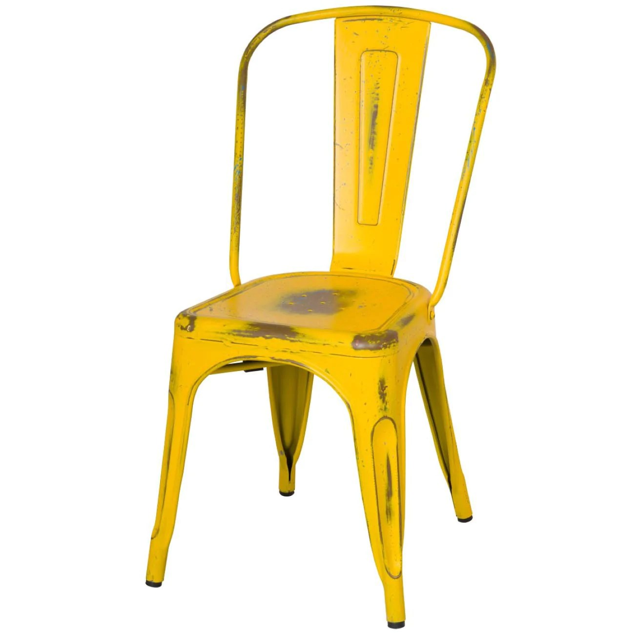 Yellow Metal Chairs Oxford Metal Chair Set Of 4 Distressed Yellow Apt2b