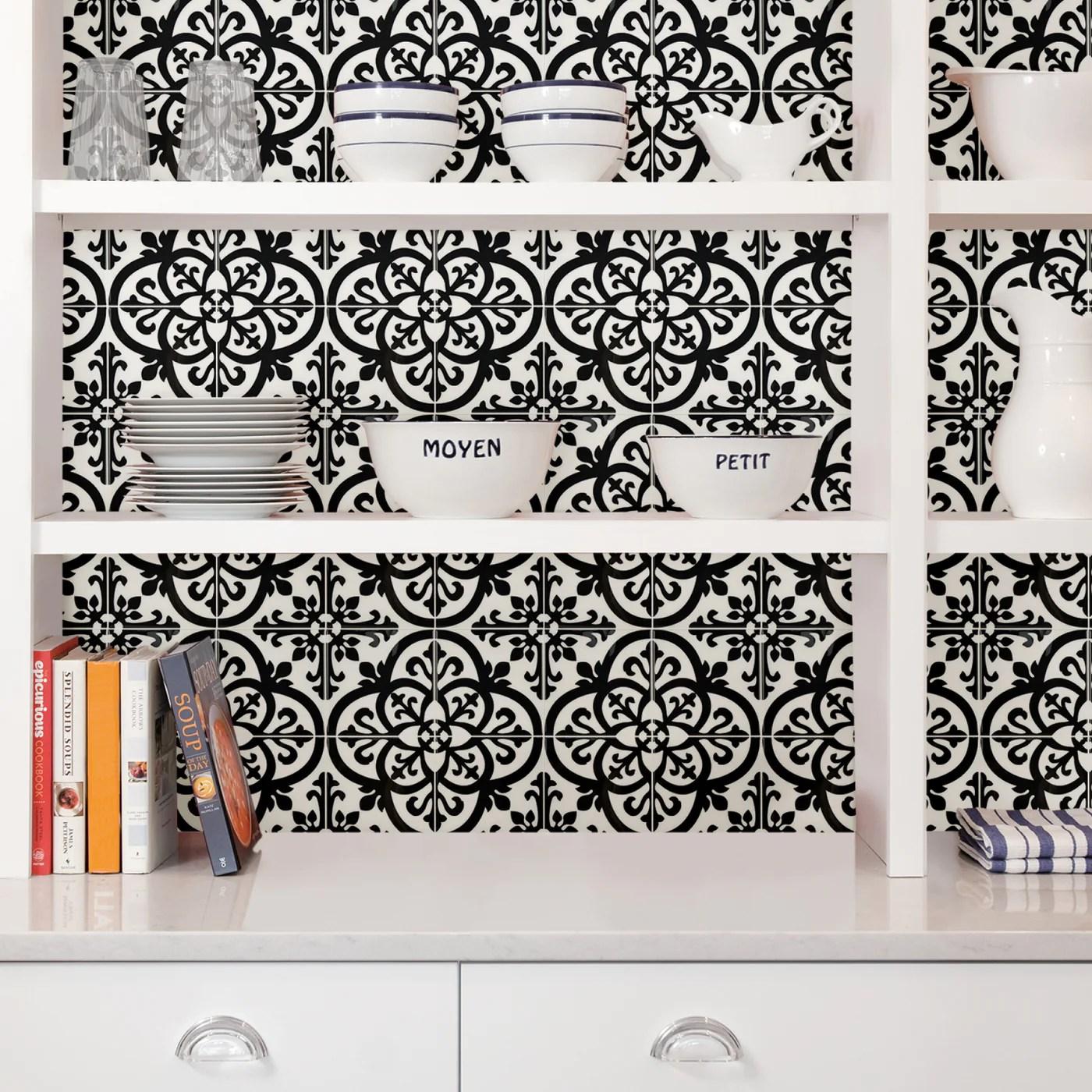 wallpops avignon black and white peel and stick backsplash tile