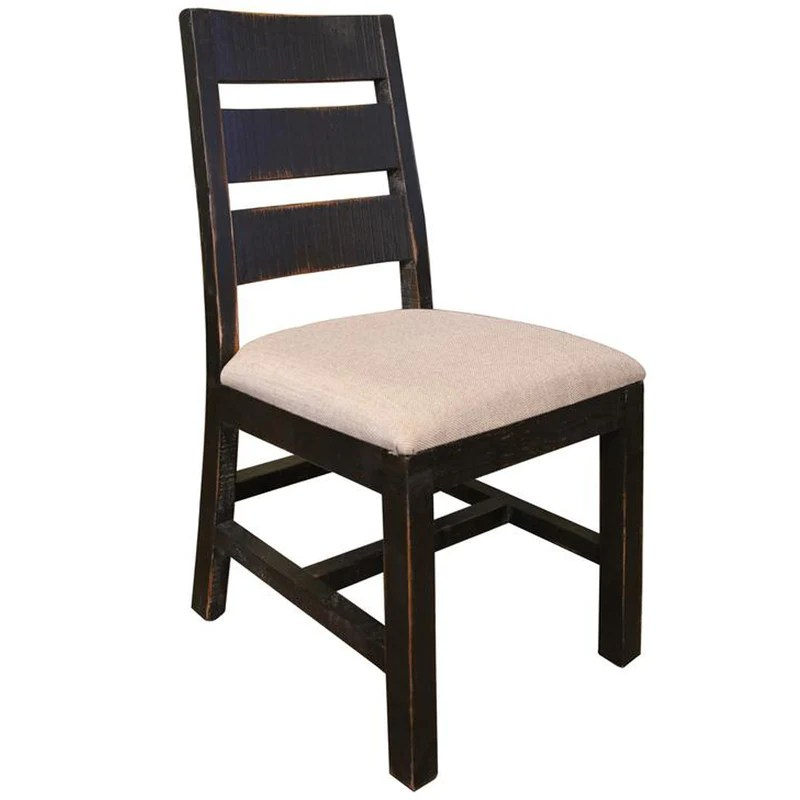 distressed black dining chairs spandex chair covers from china rustic style solid wood fabric seat bayshore 370
