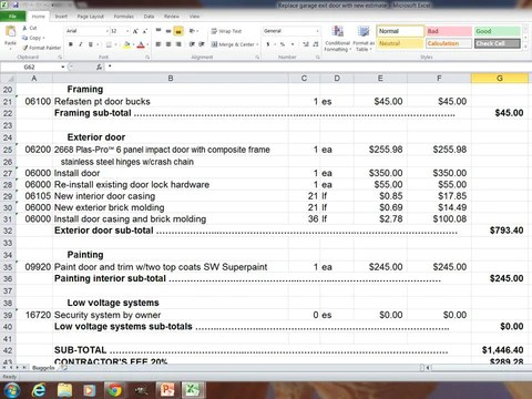 Excel Spreadsheet Template: Replace garage exit door with new ...