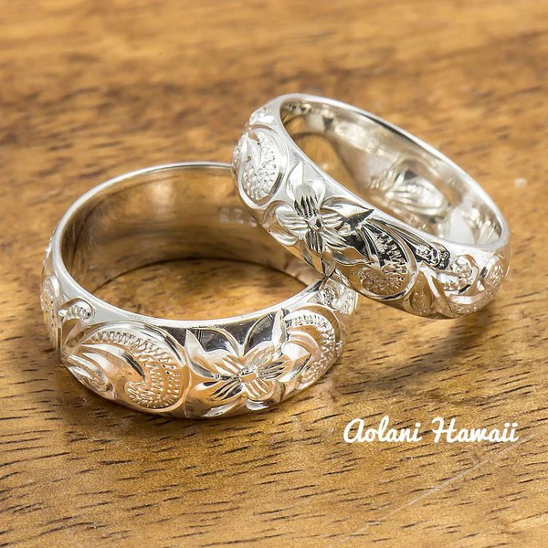 Silver Wedding Ring Set Of Traditional Hawaiian Hand