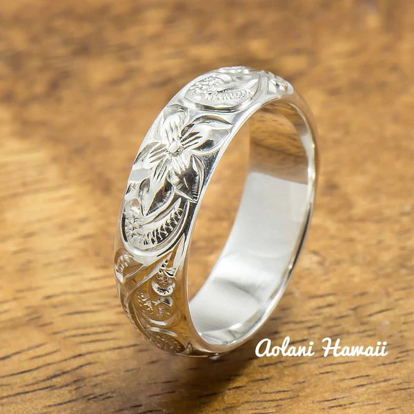 Silver Wedding Ring Set of Traditional Hawaiian Hand Engraved Sterling  Aolani Hawaii