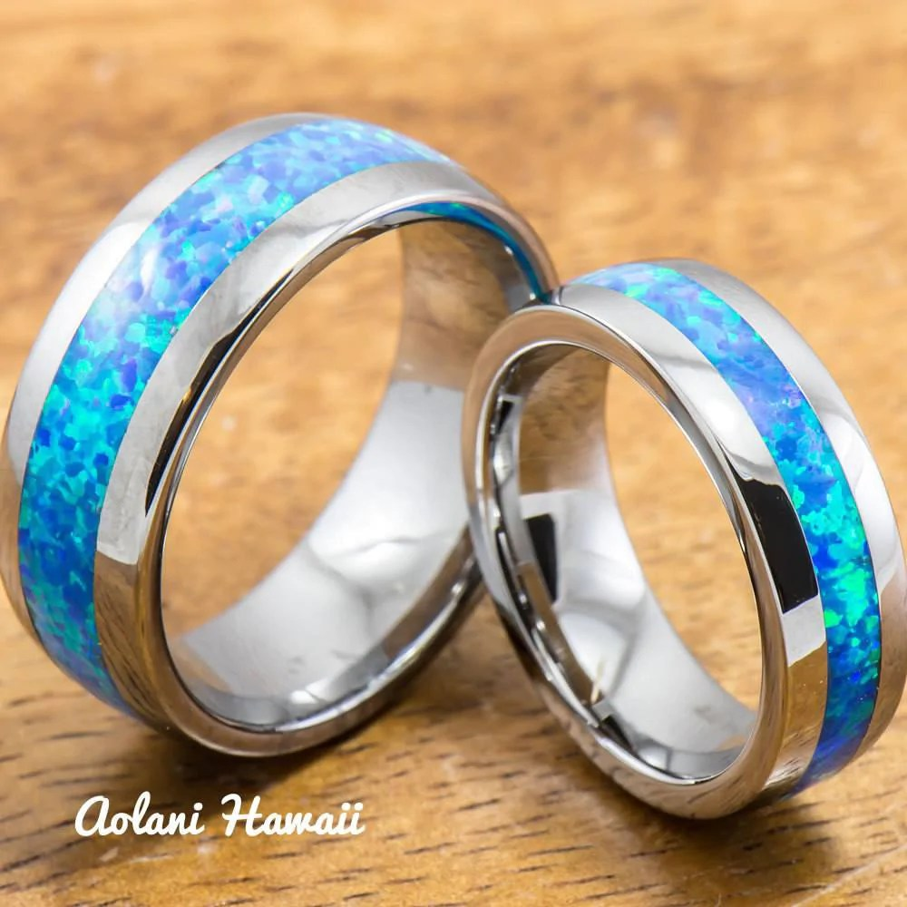 Wedding Band Set of Tungsten Rings with Opal Inlay 6mm  8mm width B  Aolani Hawaii