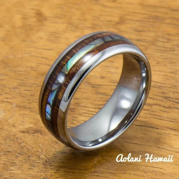 Abalone And Koa Wood Tungsten Ring Aolani Hawaii