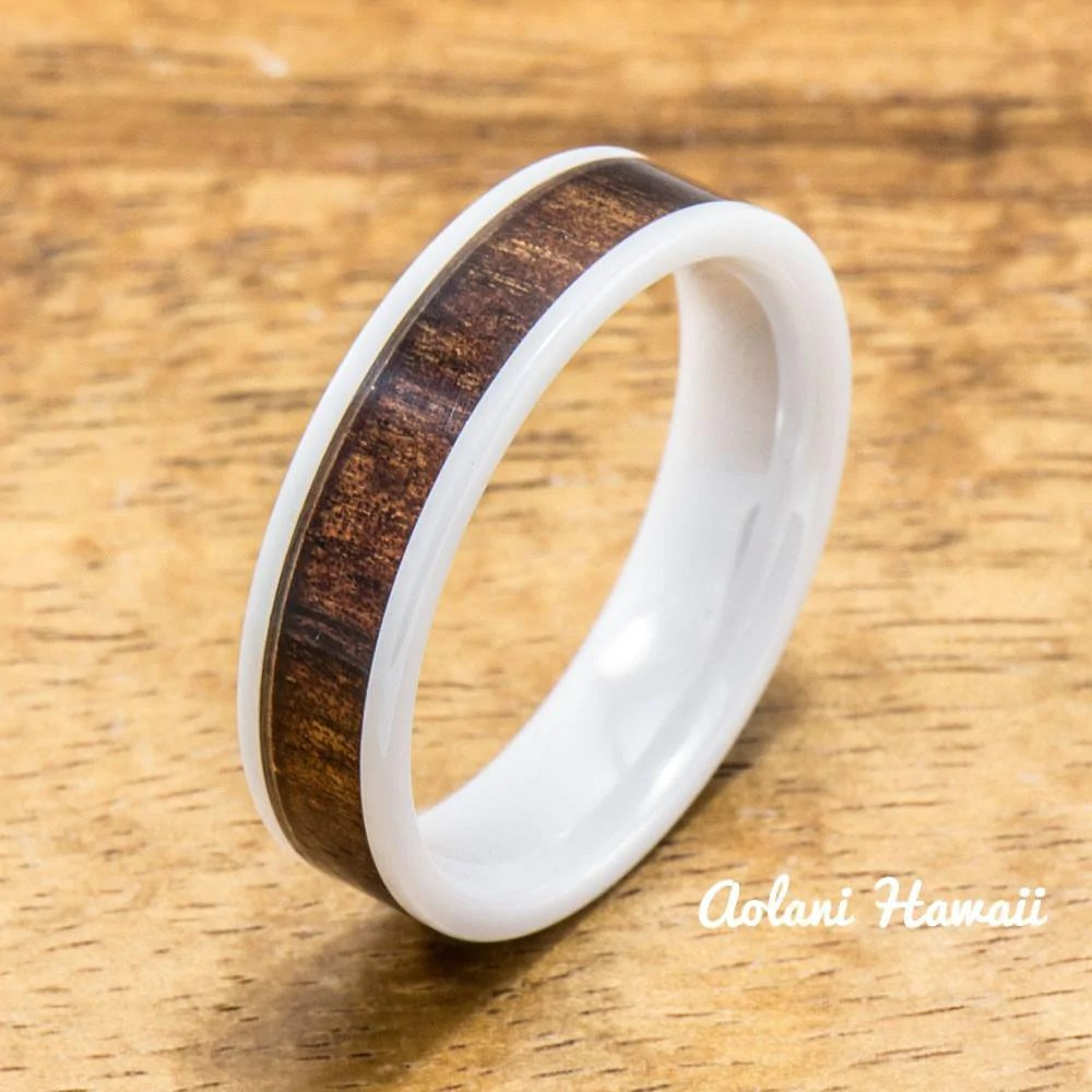 Wedding Band Set Of Ceramic Rings With Hawaiian Koa Wood