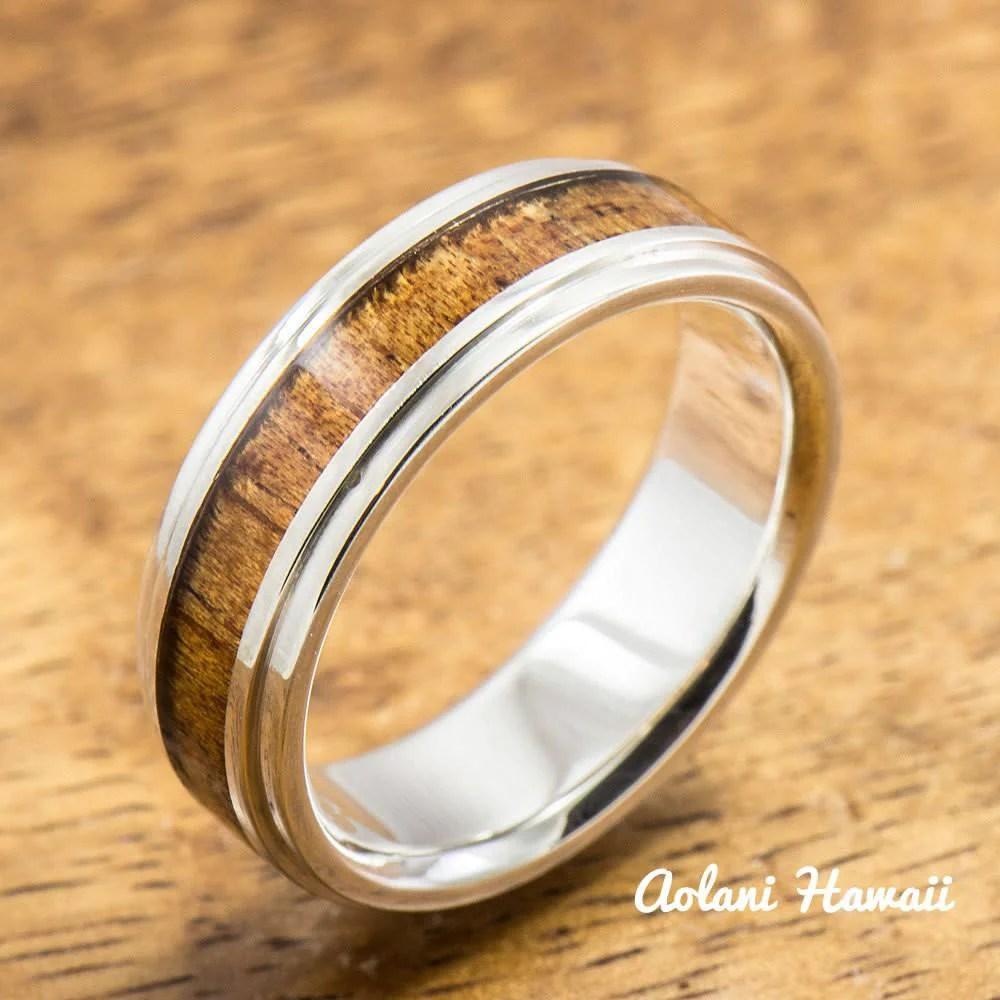 Sterling Silver Ring with Hawaiian Koa Wood Inlay 6mm8mm