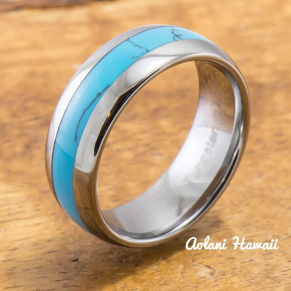 Tungsten Ring With Turquoise Inlay 6mm 8mm Width