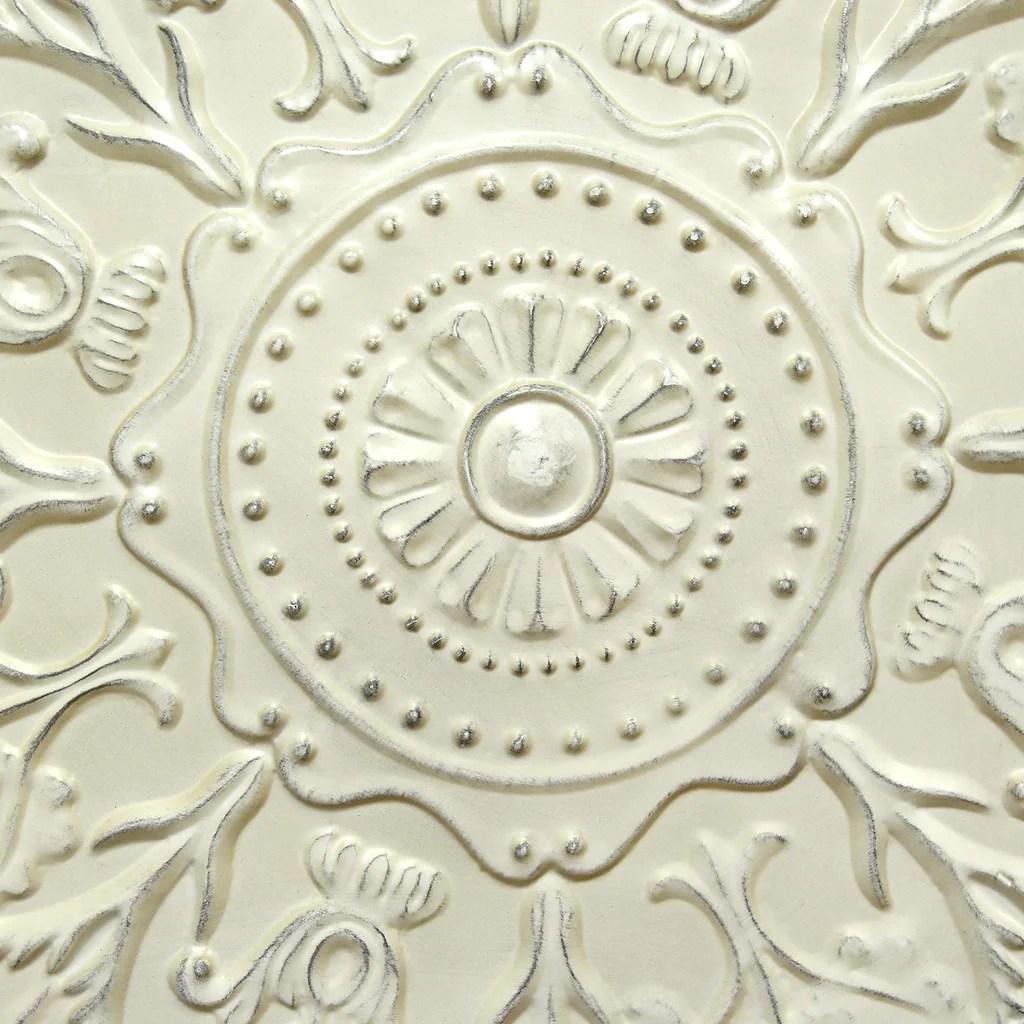 Stratton Home Décor Shabby White Medallion Wall Décor