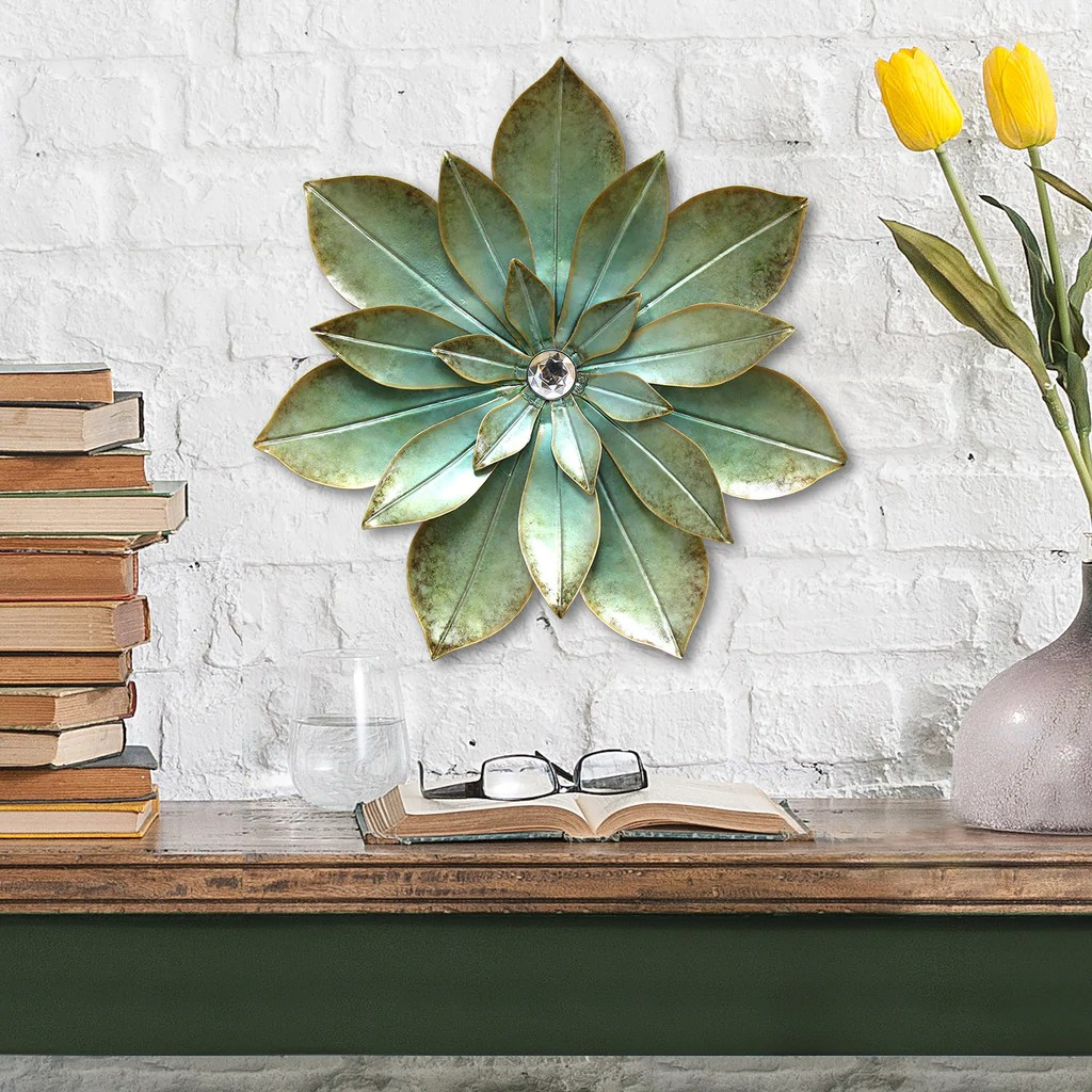 Green Embellished Flower Wall Décor Stratton Home Decor