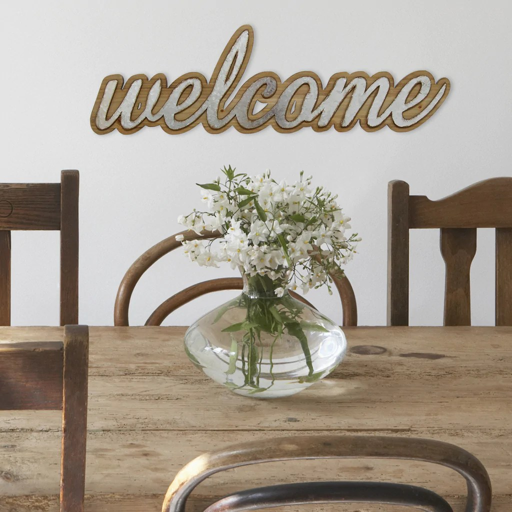 Wood And Metal Welcome Wall Art Stratton Home Decor