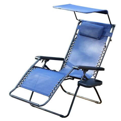 oversized recliner chair covers sling jeco, zero gravity with sunshade and drink tray – yard outlet