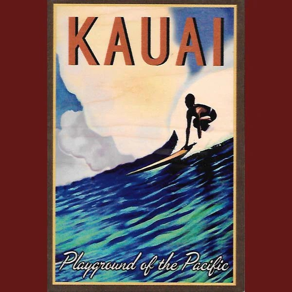 kitchen prints work table wooden kauai postcard - playground of the pacific, by ...
