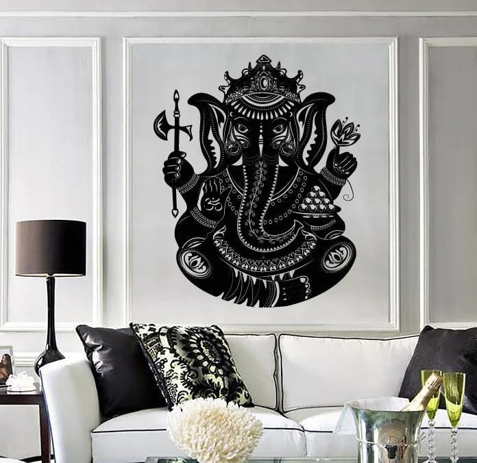 large wall stickers for living room india lightings vinyl sticker indian deity god ganesha head elephant unique wallstickers4you
