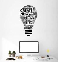 Vinyl Wall Decal Lightbulb Inspire Words Business Office