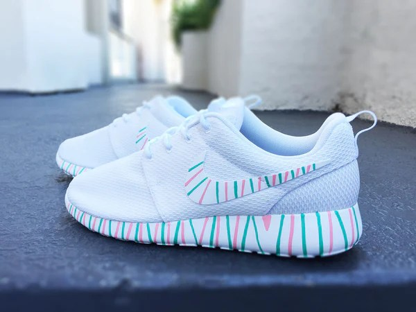 Womens Custom Nike Roshe Run sneakers South Beach teal
