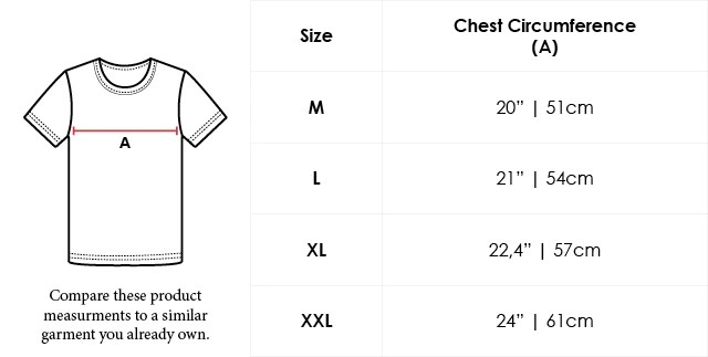 Size Chart Crew Neck Supima Cotton T-shirt