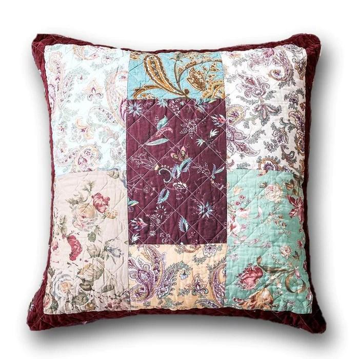 dada bedding patchwork burgundy wine velvet floral euro pillow sham cover 26 jhw 868