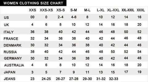 Sizing chart also size  fashion treatz rh shopfashiontreatz