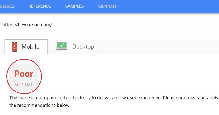 Check Google page speed score