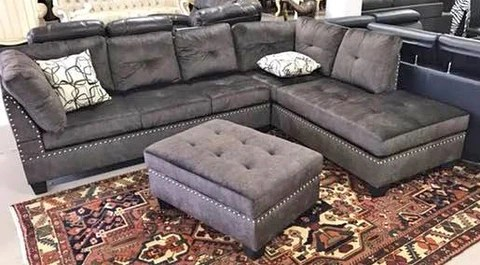 chocolate brown leather sectional sofa with 2 storage ottomans oak and liquidators hanford 1217 grey color fabric reversible 3 pc