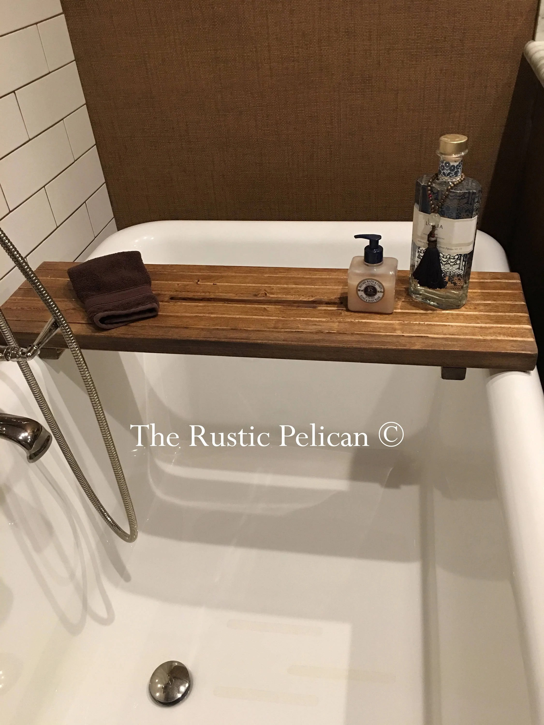 Rustic Wood Bathtub Tray Bath Caddy The Rustic Pelican