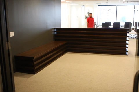 Santa Monica Mid Century Modern Reception Desk And Bench
