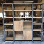 Mid Century Modern Industrial Design Bookcase Mortise Tenon