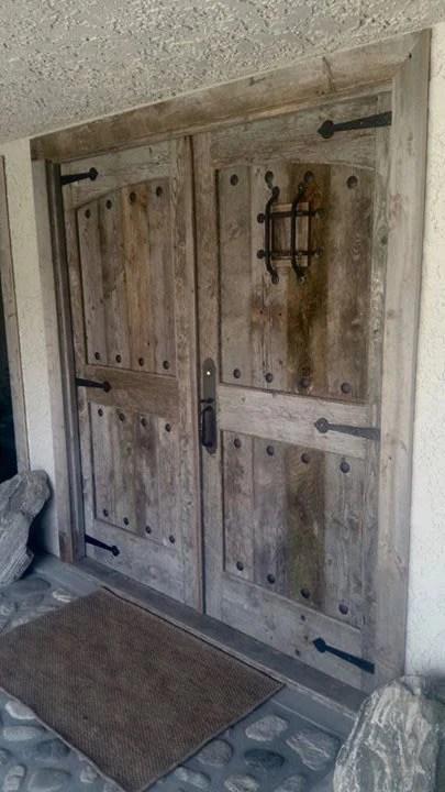Vintage Barn Wood Front Doors With Speakeasy Hardware