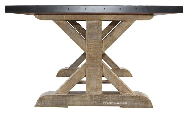 Battery Park Zinc Top Dining Table  Mortise  Tenon