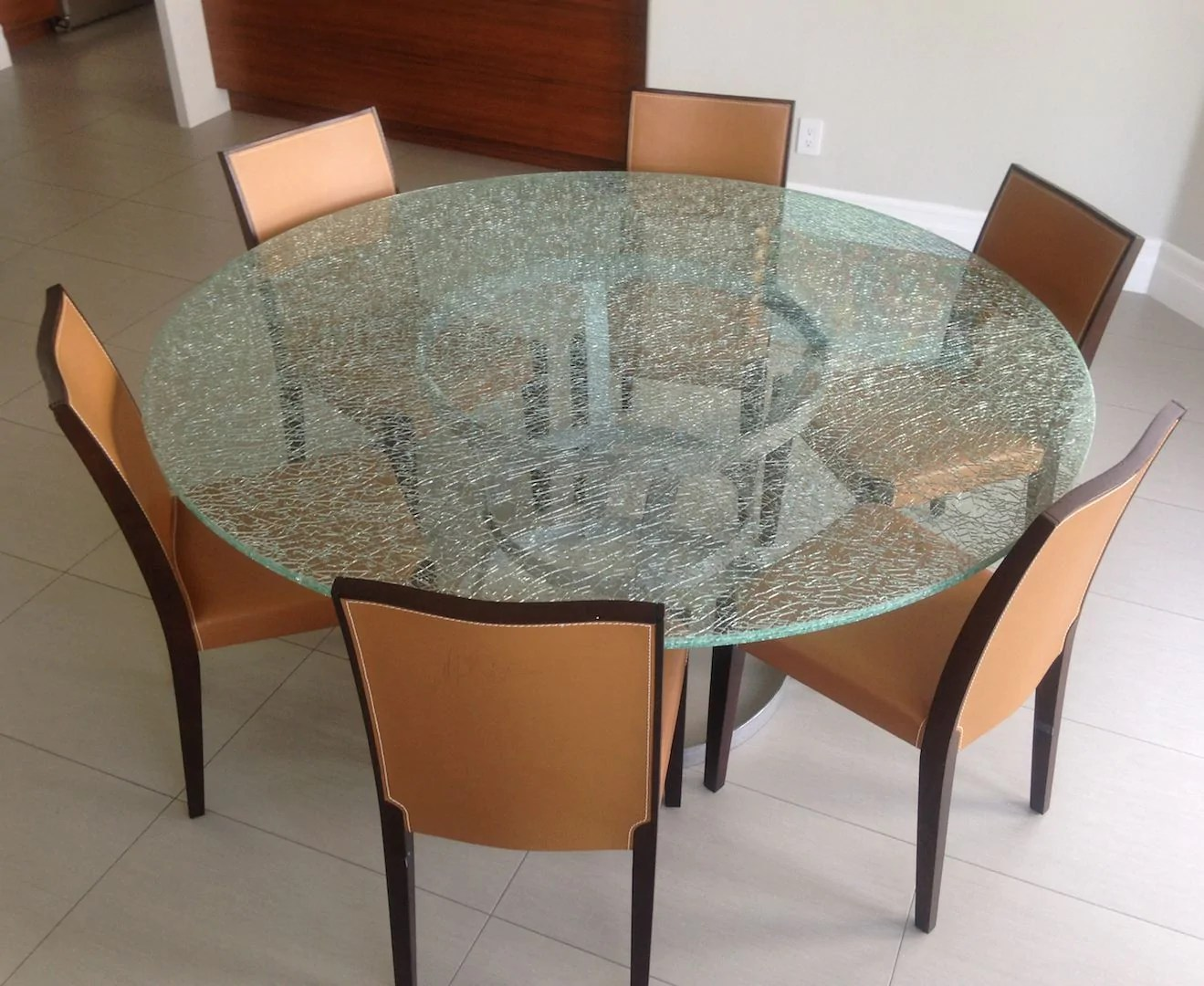 Round Crackle Glass Dining Table With Tripod Metal Base Mortise Tenon