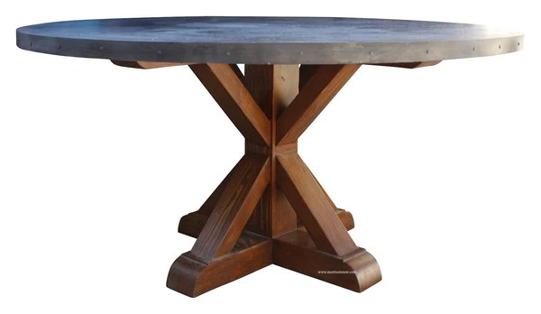 Hammered Zinc Round Dining Table  Mortise  Tenon