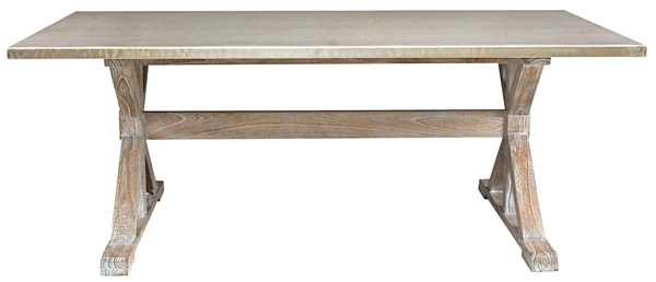 Taran Dining Table with a Hammered Metal Top  Mortise  Tenon