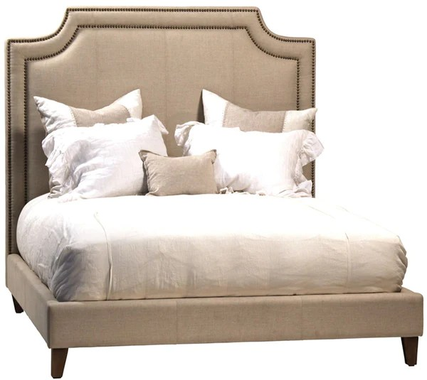 white tufted chairs 4 dining classic upholstered bed with bronze nailhead trim – mortise & tenon