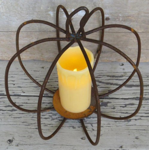 WROUGHT IRON PUMPKIN CENTERPIECE Rusty 3D Pillar Candle