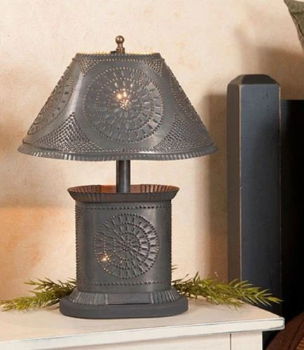 PUNCHED TIN TABLE LAMP Petitie Oval Accent in Chisel