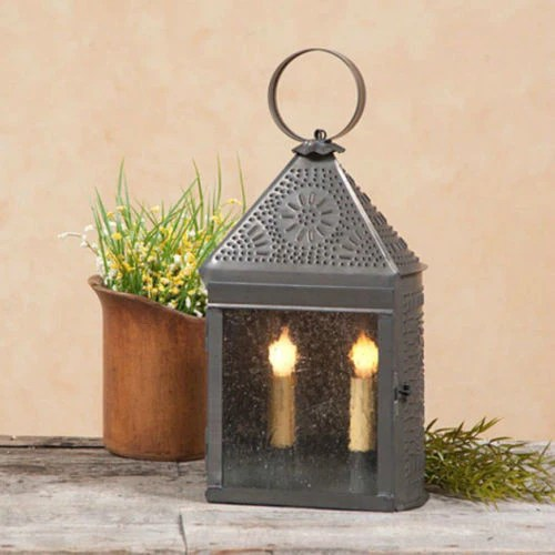 outdoor table and chairs wood chair seat covers dunelm colonial punched tin lantern dual candle lamp with ornate chisel patte – saving shepherd