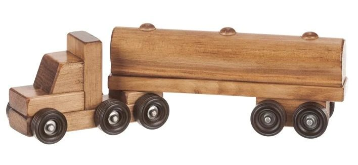 Milk Oil Delivery Truck Wood Toy Tractor Trailer