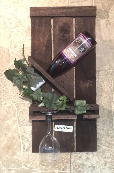 SLANTED WINE BOTTLE  2 GLASS RACK  Classic Handmade