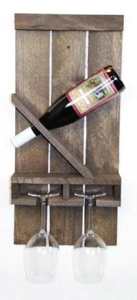 SLANTED WINE BOTTLE & 2 GLASS RACK - Classic Handmade ...
