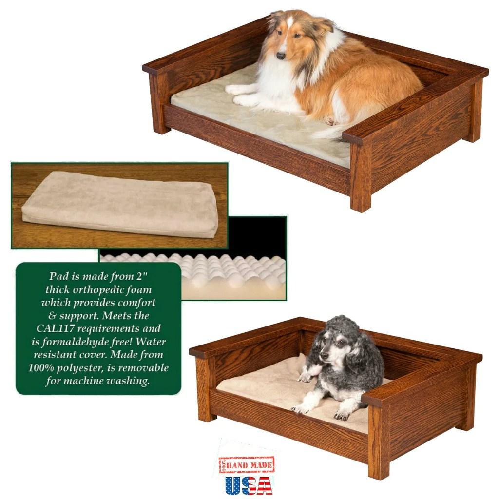 Amish Handmade Luxury Wood Pet Lounge Dog Furniture Bed