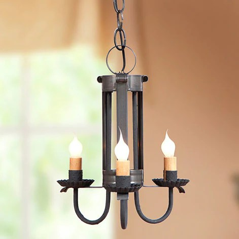 Country Tin Pendant Ceiling Light 3 Candle Chandelier Made
