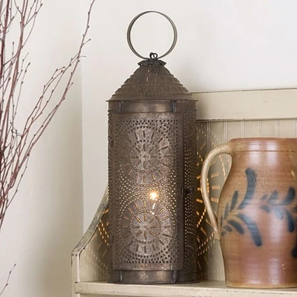 Primitive Colonial Chimney 18 Lantern with Chisel Design
