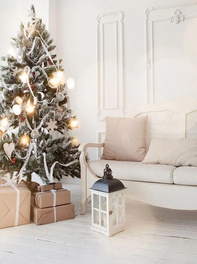living room tree orange color furniture printed christmas white sofa holiday backdrop 6900