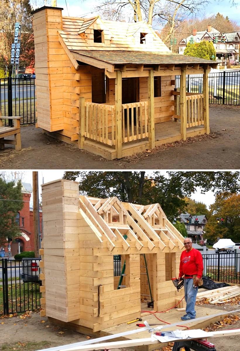 Log Cabin Kids Playhouse Plans
