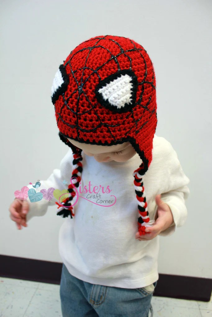 Crochet Spiderman Hats : crochet, spiderman, Spiderman, Crochet, Earflap, Beanie, Baby,, Toddler,, Child, Characte, Sisters, Craft, Corner