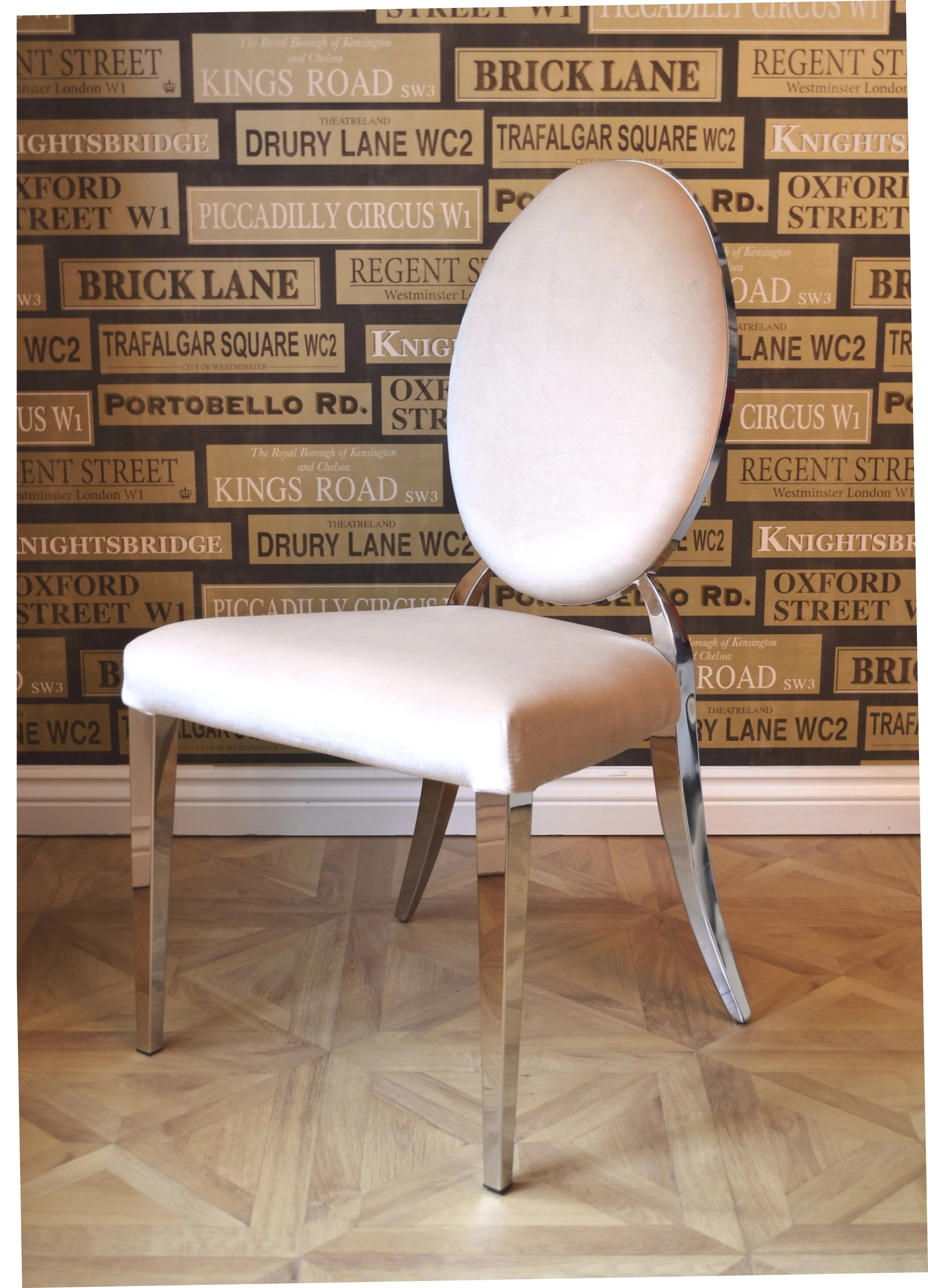 Art Deco Dining Chairs Luxury Beige Cream Oval Back Glamour Chrome Art Deco Shabby Chic Wedding Reception Dressing Dining Chair