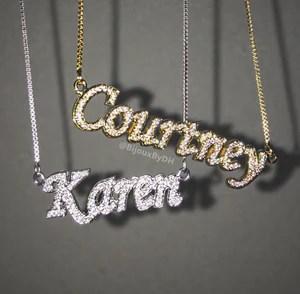 diamond cz name necklace