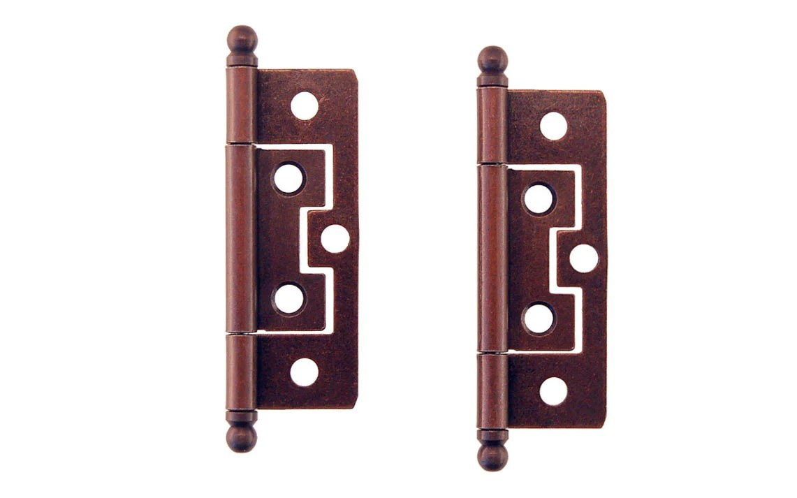 2 1 2 Non Mortise Ball Tip Cabinet Hinges Antique Copper Finish