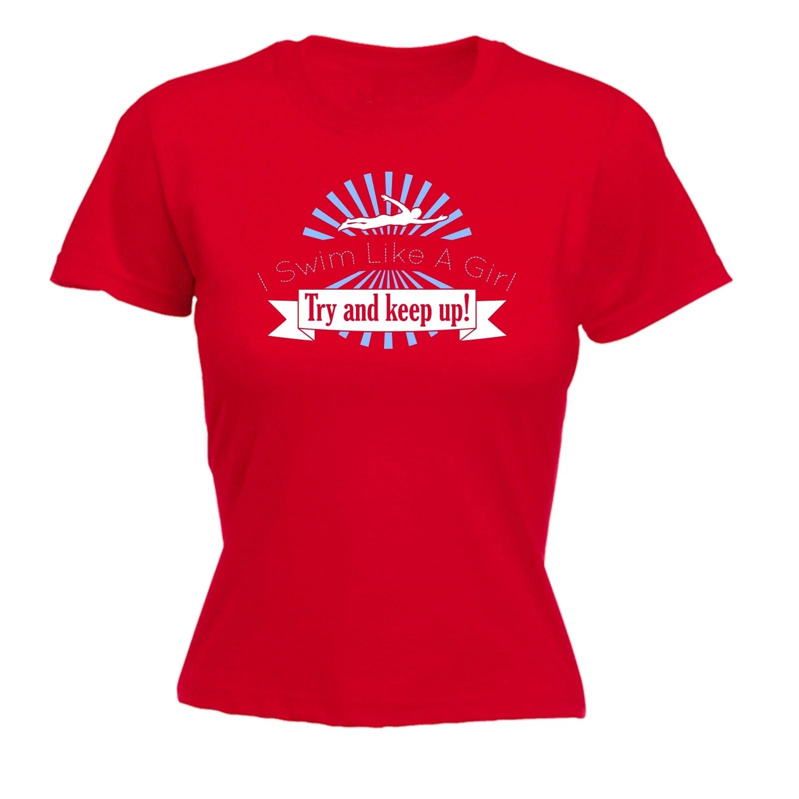 Swim Girl And Womens T-shirt Swimming