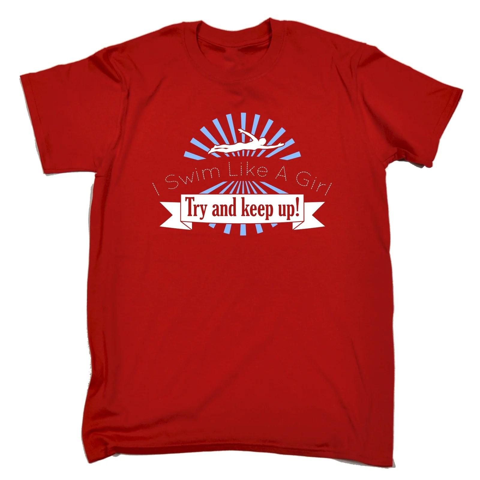 Swim Girl And Mens T-shirt Birthday